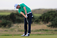 Mark Power from Ireland on the 18th tee during Round 3 Singles of the Men's Home Internationals 2018 at Conwy Golf Club, Conwy, Wales on Friday 14th September 2018.<br /> Picture: Thos Caffrey / Golffile<br /> <br /> All photo usage must carry mandatory copyright credit (&copy; Golffile | Thos Caffrey)