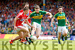 Paul Geaney Kerry  in action against Sean Powter Cork in the Munster Senior Football Final at Fitzgerald Stadium on Sunday.