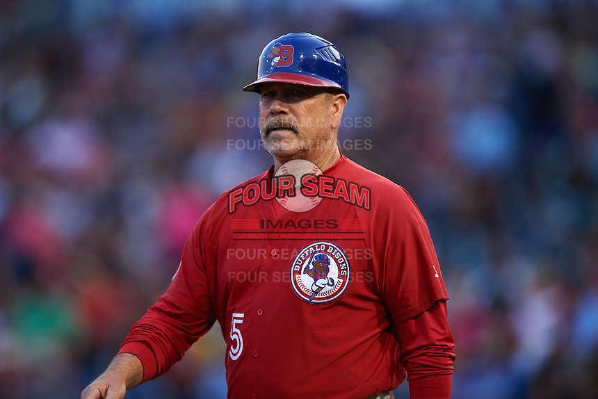 Buffalo Bisons manager Gary Allenson (5) during a game against the Pawtucket Red Sox  on August 28, 2015 at Coca-Cola Field in Buffalo, New York.  Pawtucket defeated Buffalo 7-6.  (Mike Janes/Four Seam Images)