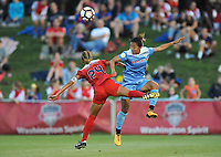 Boyds, MD - Saturday August 26, 2017: Estelle Johnson, Yuki Nagasato during a regular season National Women's Soccer League (NWSL) match between the Washington Spirit and the Chicago Red Stars at Maureen Hendricks Field, Maryland SoccerPlex.