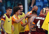 Calcio, Serie A: Lazio vs Roma. Roma, stadio Olimpico, 25 maggio 2015.<br /> Roma's Juan Iturbe, third from left, celebrates with teammates after scoring during the Italian Serie A football match between Lazio and Roma at Rome's Olympic stadium, 25 May 2015.<br /> UPDATE IMAGES PRESS/Riccardo De Luca