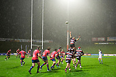 As the rin falls, Samuel Slade goes high at a lineout. Mitre 10 Cup rugby game between Counties Manukau Steelers and Tasman Mako, played at Navigation Homes Stadium Pukekohe on Friday September 6th 2019. Tasman won the game 36 - 0 after leading 24 - 0 at halftime.<br /> Photo by Richard Spranger.