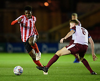 Lincoln City U18's Timothy Akinola vies for possession with South Shieldsy U18's Adam Onarbay<br /> <br /> Photographer Chris Vaughan/CameraSport<br /> <br /> The FA Youth Cup Second Round - Lincoln City U18 v South Shields U18 - Tuesday 13th November 2018 - Sincil Bank - Lincoln<br />  <br /> World Copyright © 2018 CameraSport. All rights reserved. 43 Linden Ave. Countesthorpe. Leicester. England. LE8 5PG - Tel: +44 (0) 116 277 4147 - admin@camerasport.com - www.camerasport.com
