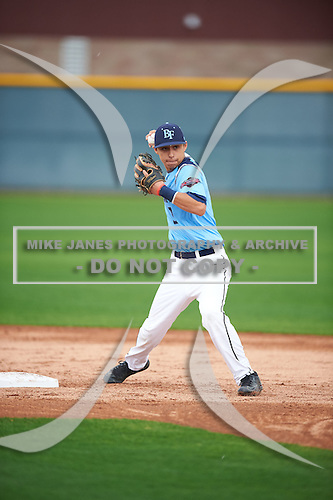Ismael Lopez (3) of Arington Heights High School in Fort Worth, Texas during the Under Armour All-American Pre-Season Tournament presented by Baseball Factory on January 14, 2017 at Sloan Park in Mesa, Arizona.  (Mike Janes/Mike Janes Photography)