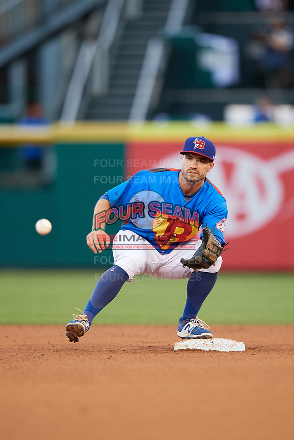 Buffalo Bisons second baseman Jon Berti (8) waits for a throw for the force out during a game against the Gwinnett Braves on August 19, 2017 at Coca-Cola Field in Buffalo, New York.  The Bisons wore special Superhero jerseys for Superhero Night.  Gwinnett defeated Buffalo 1-0.  (Mike Janes/Four Seam Images)
