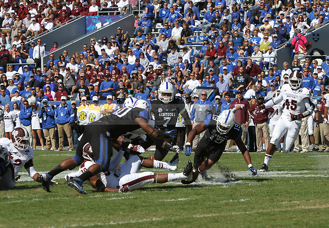 UK recovers the ball after UK kicked an onside kick in the second half of the University of Kentucky football game vs. the Mississippi State Bulldogs at Commonwealth Stadium in Lexington, Ky., on Oct. 6, 2012. Mississippi State won 27-14. Photo by Becca Clemons   Staff