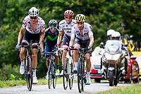 Picture by Alex Whitehead/SWpix.com - 14/07/2017 - Cycling - Le Tour de France - Stage 13, Saint-Girons to Foix - Team Sunweb's Warren Barguil, Team Sky's Mikel Landa, Trek Segafredo's Alberto Contador and Movistar's Nairo Quintana summit the Mur de Peguere.