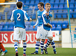 St Johnstone v Dundee United....07.08.12  SPL Under 20 League.Chris Kane celebrates his goal with Liam Caddis and Chris Tobin.Picture by Graeme Hart..Copyright Perthshire Picture Agency.Tel: 01738 623350  Mobile: 07990 594431