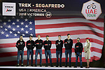 Trek-Segafredo team on stage at the inaugural UAE Tour 2019 opening ceremony and team presentation held in the Louvre Abu Dhabi, United Arab Emirates. 23rd February 2019.<br /> Picture: LaPresse/Fabio Ferrari | Cyclefile<br /> <br /> <br /> All photos usage must carry mandatory copyright credit (© Cyclefile | LaPresse/Fabio Ferrari)