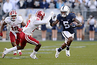 STATE COLLEGE, PA - SEPTEMBER 30:  Penn State WR DaeSean Hamilton (5) cuts upfield after a catch. Hamilton caught three touchdown passes, and also became the Penn State all-time receptions leader during the game. The Penn State Nittany Lions defeated the Indiana Hoosiers 45-14 on September 2, 2017 at Beaver Stadium in State College, PA. (Photo by Randy Litzinger/Icon Sportswire)