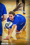 27 October 2013: Yeshiva University Maccabee Setter Emily Rohan, a Sophomore from Dallas, Texas, in action during a Skyline Conference game against the Purchase College Panthers at the College of Mount Saint Vincent in Riverdale, NY. The Panthers defeated the Maccabees 3-0 in NCAA women's volleyball play. Mandatory Credit: Ed Wolfstein Photo *** RAW (NEF) Image File Available ***