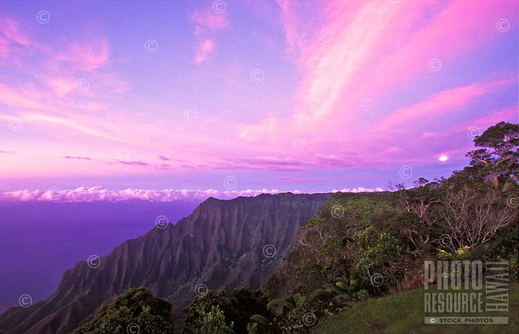Moonrise at twilight, Kalalau lookout from Kokee state park, Island of Kauai