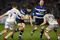 Charlie Ewels of Bath Rugby takes on the Exeter Chiefs defence. Aviva Premiership match, between Bath Rugby and Exeter Chiefs on March 23, 2018 at the Recreation Ground in Bath, England. Photo by: Patrick Khachfe / Onside Images