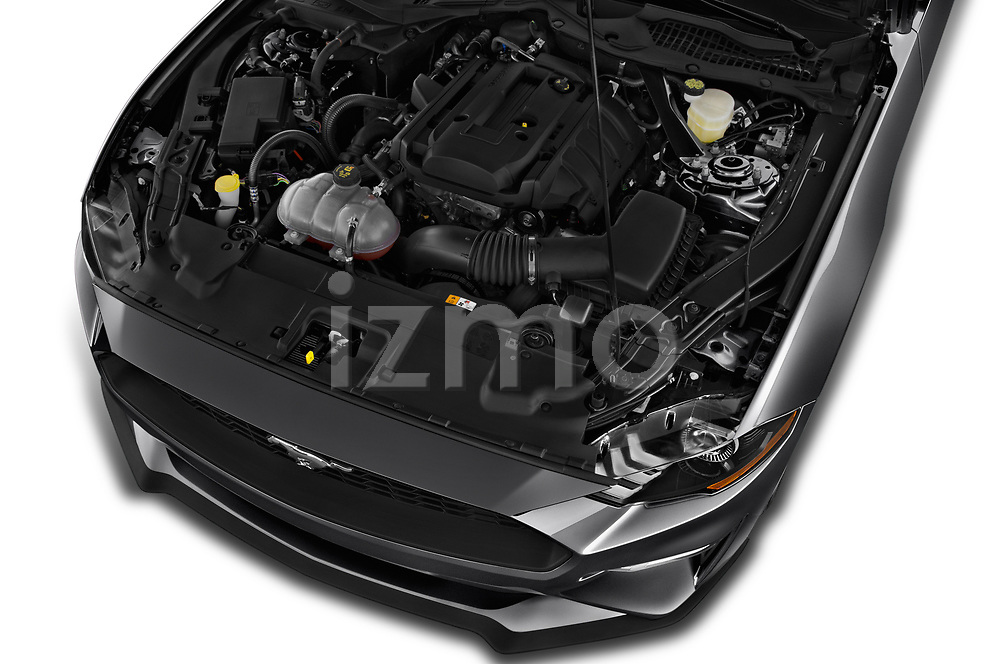 Car stock 2018 Ford Mustang EcoBoost 2 Door Convertible engine high angle detail view
