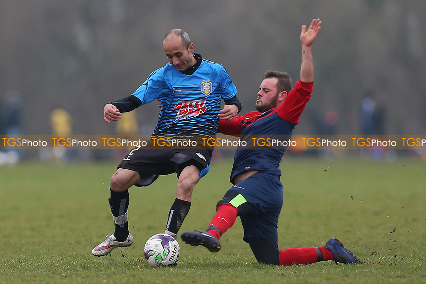 Shakespeare (red/blue) vs Brazilian Boys, Hackney & Leyton Sunday League Albert Daniels Senior Cup Semi-Final Football at Hackney Marshes on 5th February 2017