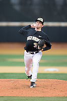 at Wake Forest Baseball Park on February 13, 2015 in Winston-Salem, North Carolina.  The Mountaineers defeated the Demon Deacons 10-1.  (Brian Westerholt/Four Seam Images)
