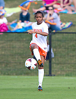 Morgan Stith (4) of Virginia passes the ball forward during the game at Klockner Stadium in Charlottesville, VA.  Virginia defeated Maryland, 1-0.