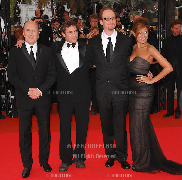 "Eva Mendes, Robert Duvall, Joaquin Phoenix & director James Gray at screening for ""We Own the Night"" at the 60th Annual International Film Festival de Cannes..May 25, 2007  Cannes, France..© 2007 Paul Smith / Featureflash"