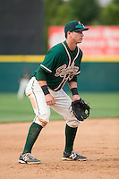 Greensboro Grasshoppers third baseman Brian Schales (43) on defense against the Hickory Crawdads at L.P. Frans Stadium on May 6, 2015 in Hickory, North Carolina.  The Crawdads defeated the Grasshoppers 1-0.  (Brian Westerholt/Four Seam Images)