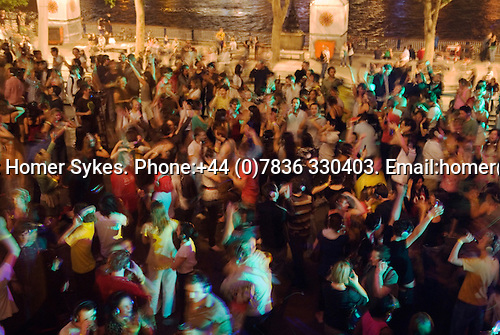 Reopening of the Royal Festival Hall, South Bank London  June 9th England 2007. Silent Disco, dancers wear headphones.