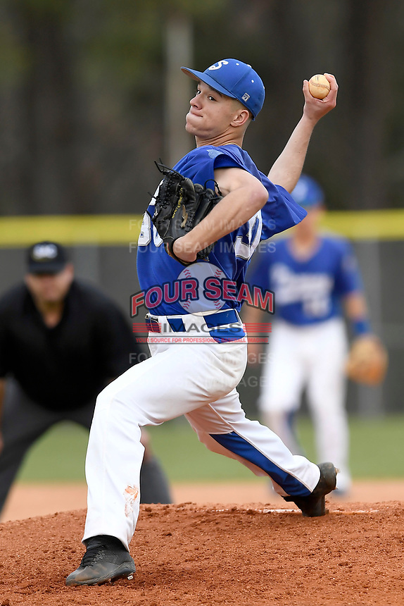 Pitcher Chad Brown (30) of the Spartanburg Methodist College Pioneers delivers a pitch in Game 2 of a junior college doubleheader against Southeastern Community College on Wednesday, March 28, 2018, at Mooneyham Field in Spartanburg, South Carolina. (Tom Priddy/Four Seam Images)