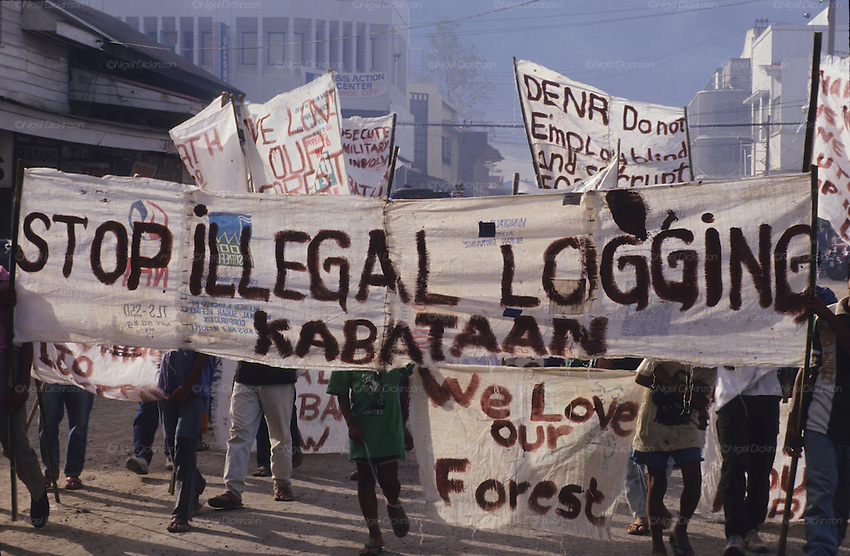 FLOODS & DEFORESTATION, Philippines. Demonstrations and protests against illegal looging. Thousands of people died during flash floods in Leyte, the Philippines. Heavy rains brought floodwaters into river deltas where the poorest communities live, with  access to water; shanty towns, squatter camps were rapidly washed away.  The rapidity of flooding was blamed as much on logging and deforestation as the rain storms themselves. The Philippines, as the in rest of South East Asia, is rife with corruption amongst state, government and military officials who make a profit from illegal logging concessions.