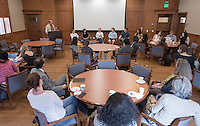 Douglas Gardner, assistant professor, Diplomacy & World Affairs, introduces the student participants. Gardner is the on-site faculty director of Oxy at the U.N.<br />