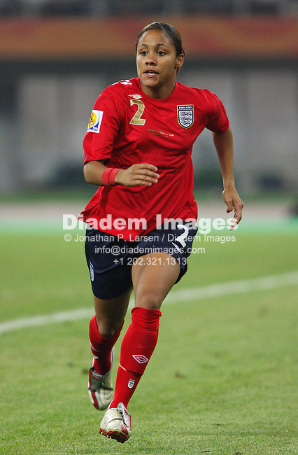 TIANJIN, CHINA - SEPTEMBER 22:  Alex Scott of England in action during a Women's World Cup quarterfinal soccer match against the United States September 22, 2007 in Tianjin, China.  (Photograph by Jonathan P. Larsen)