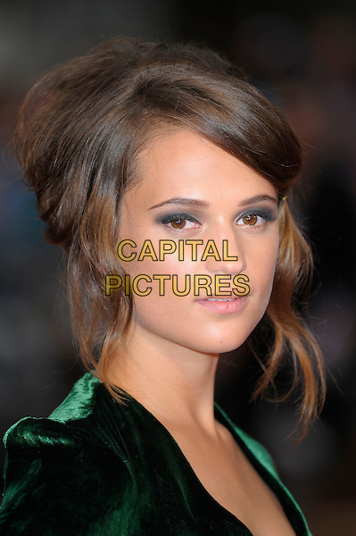 Alicia Vikander.The World Premiere of 'Anna Karenina', The Odeon Leicester Square, London, England..4th September 2012.headshot portrait green velvet.CAP/PL.©Phil Loftus/Capital Pictures.