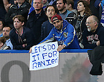 A chelsea fan shows his support for Claudio Ranieri during the Barclays Premier League match at Stamford Bridge Stadium.  Photo credit should read: David Klein/Sportimage