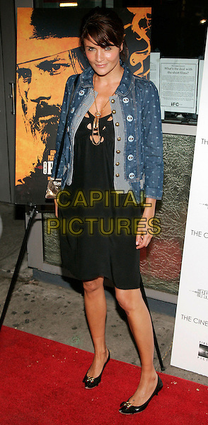 "HELENA CHRISTENSEN.At the Premiere of ""The Proposition"" during the 5th Annual Tribeca Film Festival, New York, NY, USA,.27 April 2006..full length black dress holes cut outs denim jean jacket polka dot dotty spotty gold necklace.Ref: ADM/JL.www.capitalpictures.com.sales@capitalpictures.com.©Jackson Lee/AdMedia/Capital Pictures."