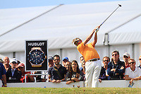 Miguel Angel Jimenez (ESP) on the 1st tee during Round 2 of the KLM Open at Kennemer Golf &amp; Country Club on Friday 12th September 2014.<br /> Picture:  Thos Caffrey / www.golffile