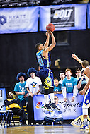 MAR 7, 2016: Baltimore, MD - North Carolina-Wilmington Seahawks guard Denzel Ingram (10) hits a late three pointer against Hofstra Pride during the Championship game of the CAA Basketball Tournament at Royal Farms Arena in Baltimore, Maryland. (Photo by Philip Peters/Media Images International)
