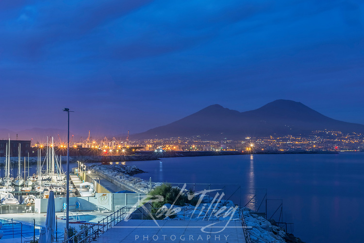 Europe, Italy, Naples, Naples Waterfront & Mt. Vesuvias at Dawn