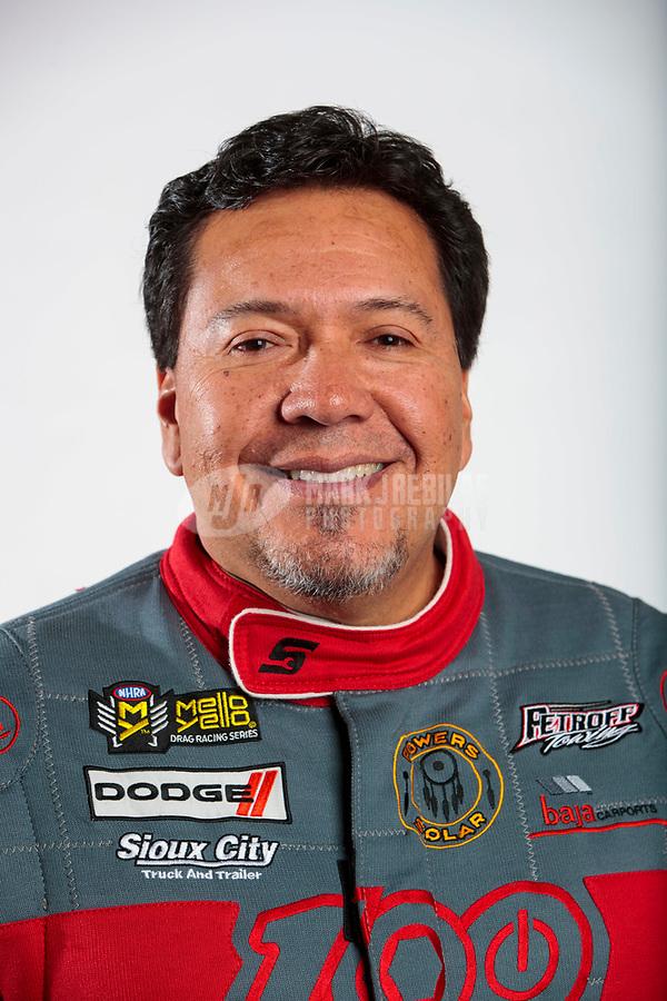 Feb 5, 2020; Pomona, CA, USA; NHRA funny car driver Cruz Pedregon poses for a portrait during NHRA Media Day at the Pomona Fairplex. Mandatory Credit: Mark J. Rebilas-USA TODAY Sports