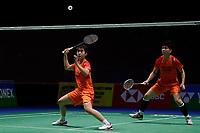 13th March 2020, Arena Birmingham, Birmingham, UK; Chinas Du Yue and Li Yinhui compete during for womens doubles quarterfinal match with Japans Mayu Matsumoto/Wakana Nagahara at All England Badminton 2020 in Birmingham