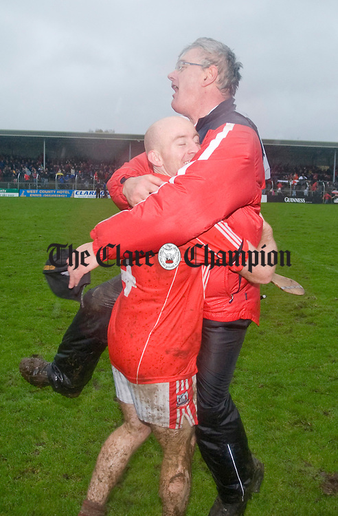 Alan Brigdale celebrates with Michael Browne. Photograph by Declan Monaghan