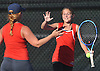 Hailey Stoerback, right, and doubles partner Olivia Faulhaber of Smithtown East celebrate after their win over Half Hollow Hills East in the Suffolk County girls tennis Division I doubles final at Half Hollow Hills West High School on Tuesday, Oct. 11, 2016.