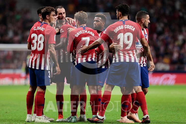 Atletico de Madrid's players celebrate goal during La Liga match between Atletico de Madrid and SD Huesca at Wanda Metropolitano Stadium in Madrid, Spain. September 25, 2018. (ALTERPHOTOS/A. Perez Meca)