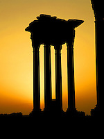 Tetrapylon podium at sunset, reconstructed after 1963 by Syrian Directorate of Antiquities, Palmyra, Syria Picture by Manuel Cohen