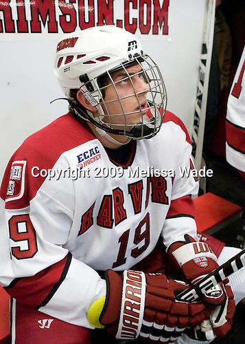 Alex Killorn (Harvard - 19) - The Boston College Eagles defeated the Harvard University Crimson 3-2 on Wednesday, December 9, 2009, at Bright Hockey Center in Cambridge, Massachusetts.