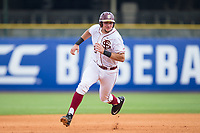 Cal Raleigh (35) of the Florida State Seminoles hustles towards third base against the Duke Blue Devils in the first semifinal of the 2017 ACC Baseball Championship at Louisville Slugger Field on May 27, 2017 in Louisville, Kentucky.  The Seminoles defeated the Blue Devils 5-1.  (Brian Westerholt/Four Seam Images)