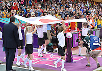 August 03, 2012 - Cardiff England - Children bring flag of Japan on to the field before Group F match between JPN and BRA at the Millennium Stadium. .