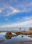 Olympic National Park, WA<br /> Low tide with exposed rocks and tidal pools reflecting on Second Beach