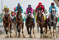 LOUISVILLE, KY - MAY 05:  The field for the Alysheba Stakes splashes over a muddy track at Churchill Downs on May 5, 2017 in Louisville, Kentucky. (Photo by Alex Evers/Eclipse Sportswire/Getty Images)