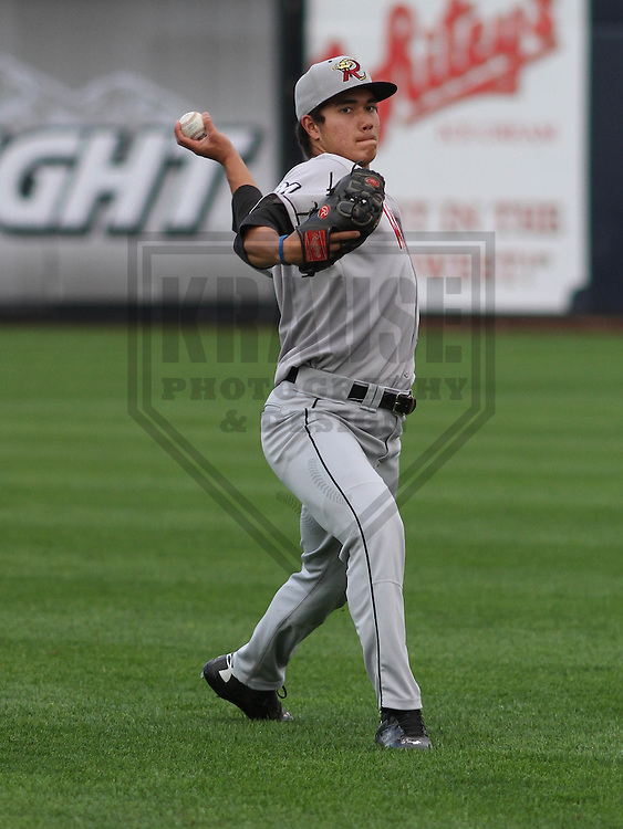 DAVENPORT - May 2015: Wisconsin Timber Rattlers pitcher Kodi Medeiros (16) during a Midwest League game against the Quad Cities River Bandits on May 8th, 2015 at Modern Woodmen Park in Davenport, Iowa.  Quad Cities defeated Wisconsin 11-6.  (Brad Krause/Krause Sports Photography)