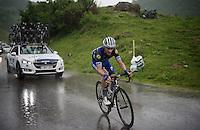 Julian Alaphilippe (FRA/Etixx-QuickStep) over the top of the Col de Joux Plane (HC/1691m/11.6km/8.5%)<br /> <br /> Stage 20: Megève › Morzine (146.5km)<br /> 103rd Tour de France 2016