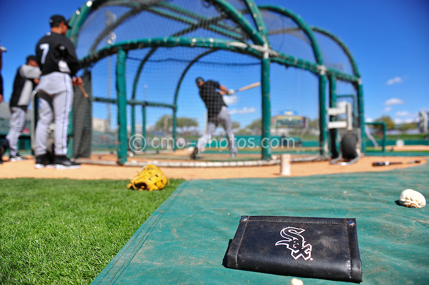 Mar 7, 2011; Tucson, AZ, USA; The Chicago White Sox take batting practice prior to a charity exhibition game against the Arizona Diamondbacks at the Kino Sports Complex to benefit the Christina-Taylor Green foundation.  Green was the 9-year-old girl who was shot and killed during the January assassination attempt on Rep.  Gabrielle Giffords.