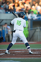 Hillsboro Hops center fielder Jorge Perez (16) at bat during a Northwest League game against the Salem-Keizer Volcanoes at Ron Tonkin Field on September 1, 2018 in Hillsboro, Oregon. The Salem-Keizer Volcanoes defeated the Hillsboro Hops by a score of 3-1. (Zachary Lucy/Four Seam Images)