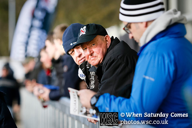 Darlington fans. Darlington 1883 v Southport, National League North, 16th February 2019. The reborn Darlington 1883 share a ground with the town's Rugby Union club. <br /> After several years of relegations, bankruptcies, and ground moves, the club is fan owned, and back on an even keel in the National League North.<br /> A 0-0 draw with Southport was marred by a broken leg and dislocated knee suffered by Sam Muggleton, Darlington's on loan left back.<br /> Both teams finished the season in lower mid table.